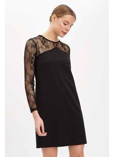DeFacto Dantel Detaylı Dokuma Elbise Siyah